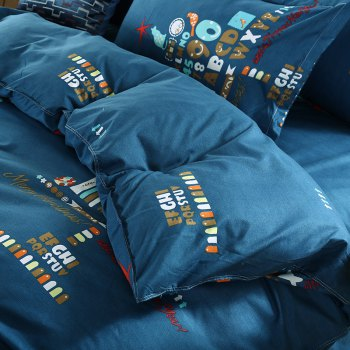 weina 4-piece Cotton Warm Christmas Pattern Bedding Set - DARK GREEN FULL