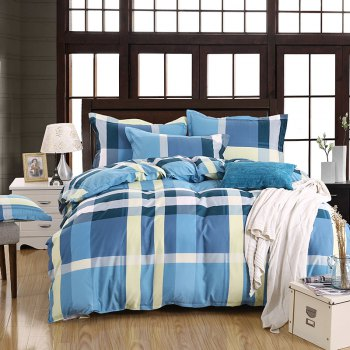 weina 4-piece Cotton Checked Pattern Bedding Set - COLORMIX TWIN