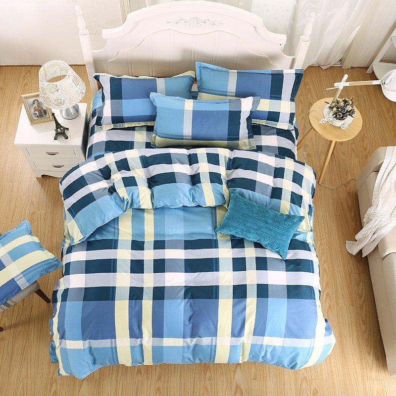weina 4-piece Cotton Checked Pattern Bedding Set - COLORMIX FULL