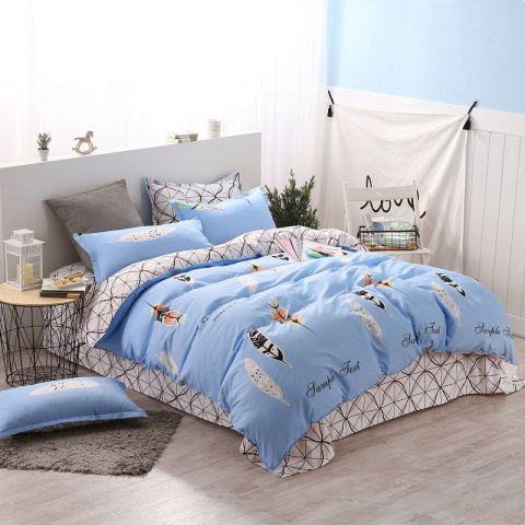 weina 4-piece Cotton Warm Leaves Pattern Bedding Set - LIGHT BLUE FULL