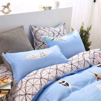 weina 4-piece Cotton Warm Leaves Pattern Bedding Set - LIGHT BLUE QUEEN