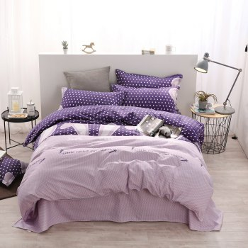 weina 4-piece Cotton Warm Radish Pattern Bedding Set - PURPLE FULL