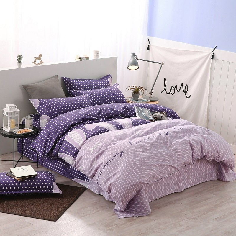 weina 4-piece Cotton Warm Radish Pattern Bedding Set - PURPLE TWIN