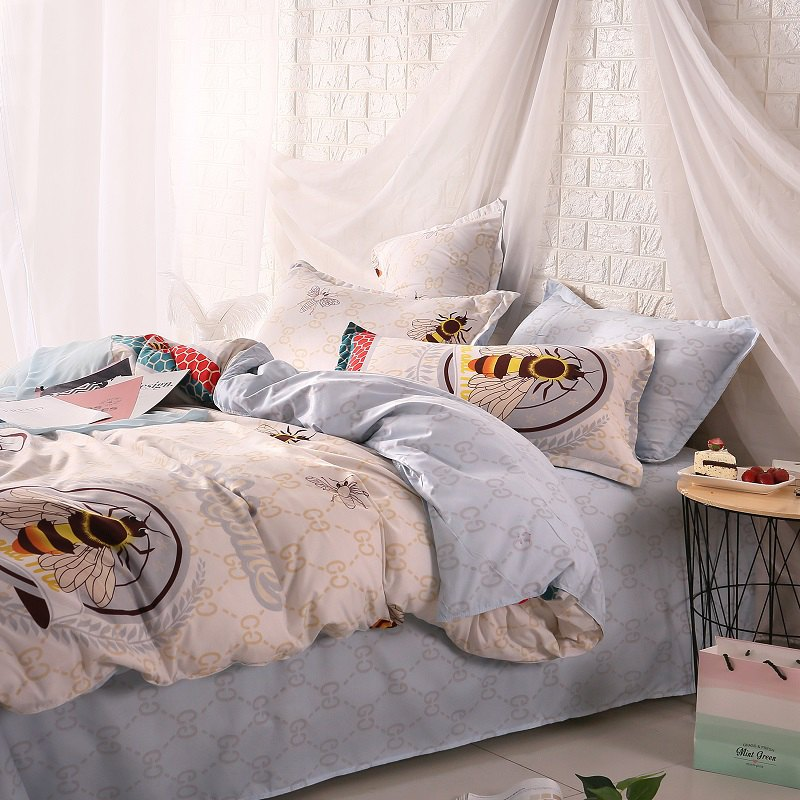 weina 4-piece Cotton Warm Bee Pattern Bedding Set - LIGHT GRAY QUEEN