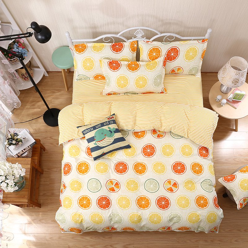 weina 4-piece Cotton Warm Fresh Lemon Pattern Bedding Set - ORANGE / WHITE FULL