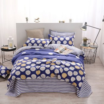 weina 4-piece Cotton Warm Flower Pattern Bedding Set - COLORMIX QUEEN