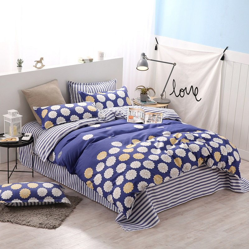 weina 4-piece Cotton Warm Flower Pattern Bedding Set - COLORMIX TWIN