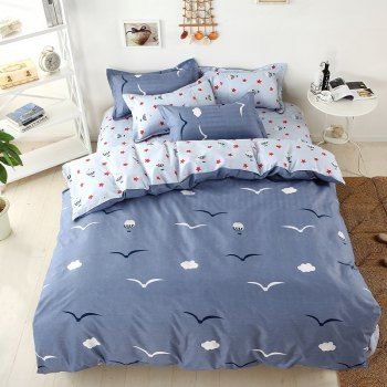 weina 4-piece Cotton Warm Seagull Pattern Bedding Set - GRAY GRAY
