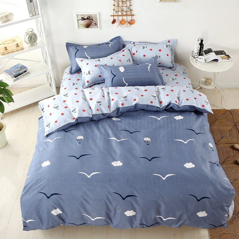 weina 4-piece Cotton Warm Seagull Pattern Bedding Set - GRAY FULL