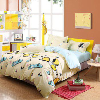 weina 4-piece Cotton Warm Naughty Egg Pattern Bedding Set - LIGHT YELLOW LIGHT YELLOW