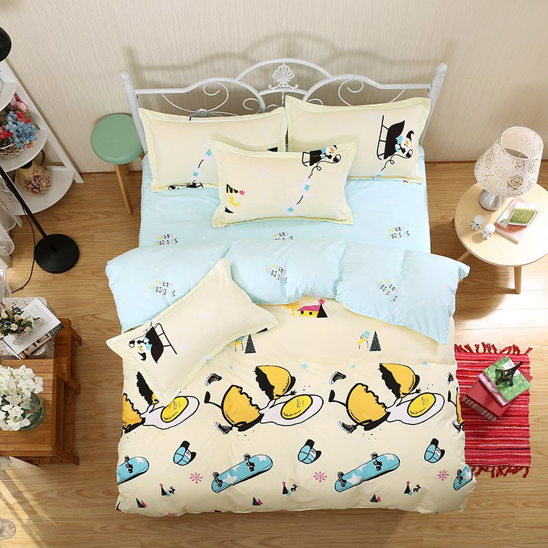weina 4-piece Cotton Warm Naughty Egg Pattern Bedding Set - LIGHT YELLOW FULL