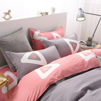 weina 4-piece Cotton Warm Attractive Pattern Bedding Set - GRAY/RED TWIN