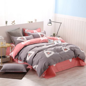 weina 4-piece Cotton Warm Attractive Pattern Bedding Set - GRAY AND RED GRAY/RED