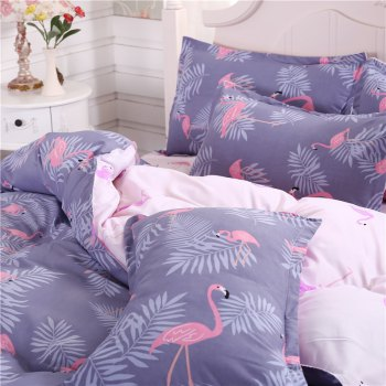 weina 4-piece Cotton Warm Crane Pattern Bedding Set - PURPLE FULL
