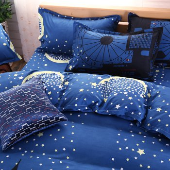 weina 4-piece Cotton Warm Starry Sky City Pattern Bedding Set - DEEP BLUE DEEP BLUE