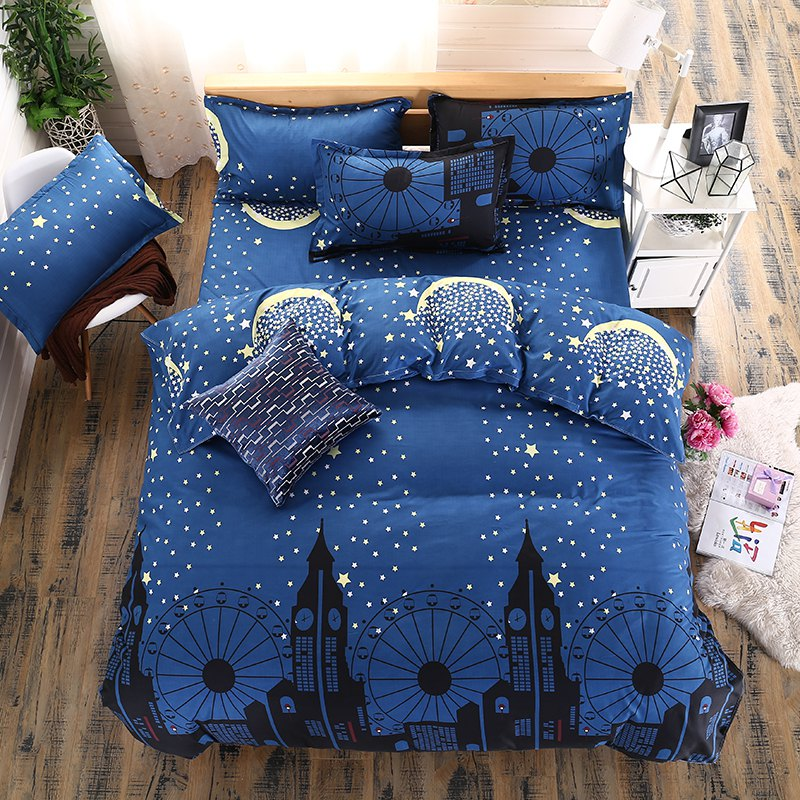 weina 4-piece Cotton Warm Starry Sky City Pattern Bedding Set - DEEP BLUE TWIN