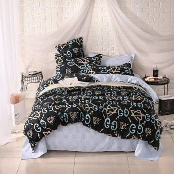 weina 4-piece Cotton Warm Letters Pattern Bedding Set