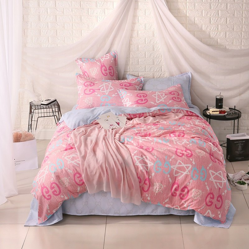 weina 4-piece Cotton Warm Letters Pattern Bedding Set - PINK FULL