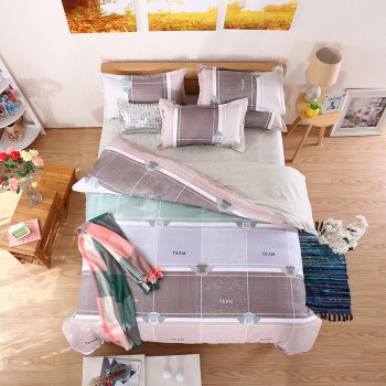 weina 4-piece Cotton Warm Stripes Pattern Bedding Set - COLORFUL COLORFUL