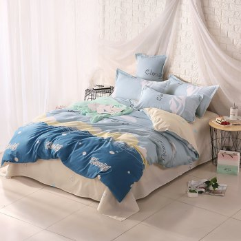 weina 4-piece Cotton Warm Cloudy Pattern Bedding Set - BLUE TWIN