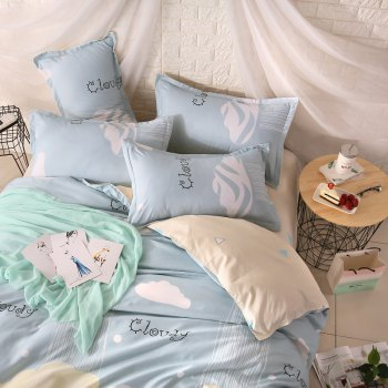 weina 4-piece Cotton Warm Cloudy Pattern Bedding Set - BLUE BLUE