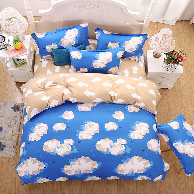 weina 4-piece Cotton Warm Cloud Pattern Bedding Set - BLUE TWIN