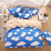 weina 4-piece Cotton Warm Cloud Pattern Bedding Set - BLUE FULL