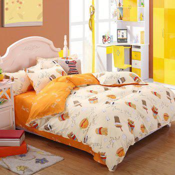 weina 4-piece Cotton Warm Chips Pattern Bedding Set - ORANGE / WHITE TWIN