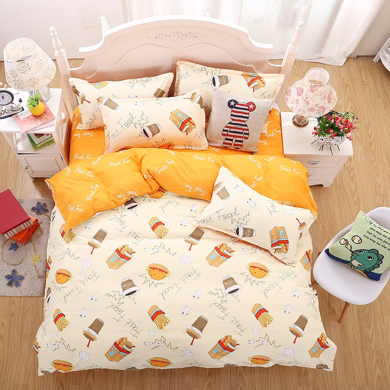 weina 4-piece Cotton Warm Chips Pattern Bedding Set - ORANGE / WHITE QUEEN