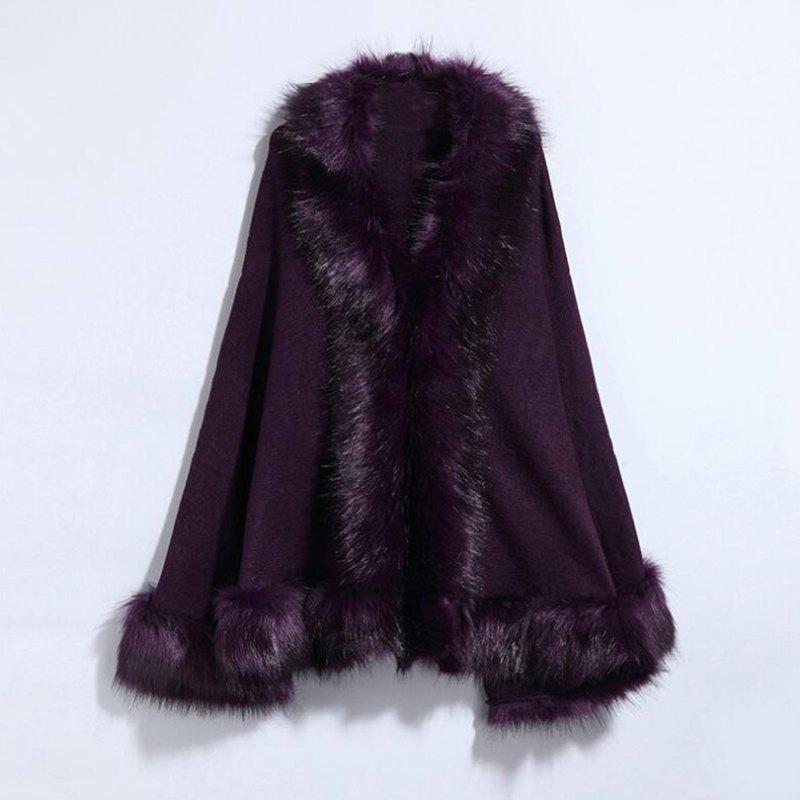 Women's Fashion Faux Fur Multicolor - PURPLE ONE SIZE