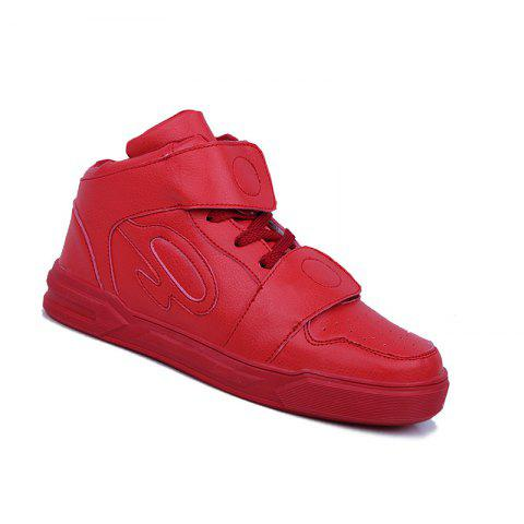 High Top Air Sports Cushion Sneakers Mesh Trainers Hip Hop Lace-Up Leisure Shoes - RED 43