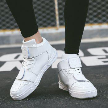 High Top Air Sports Cushion Sneakers Mesh Trainers Hip Hop Lace-Up Leisure Shoes - WHITE WHITE
