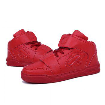 High Top Air Sports Cushion Sneakers Mesh Trainers Hip Hop Lace-Up Leisure Shoes - RED RED