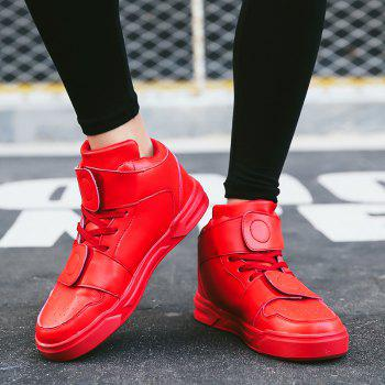 High Top Air Sports Cushion Sneakers Mesh Trainers Hip Hop Lace-Up Leisure Shoes - RED 44