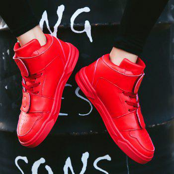 High Top Air Sports Cushion Sneakers Mesh Trainers Hip Hop Lace-Up Leisure Shoes - RED 41