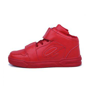High Top Air Sports Cushion Sneakers Mesh Trainers Hip Hop Lace-Up Leisure Shoes - RED 40
