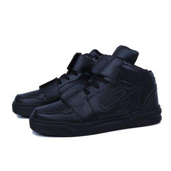 High Top Air Sports Cushion Sneakers Mesh Trainers Hip Hop Lace-Up Leisure Shoes - BLACK 41