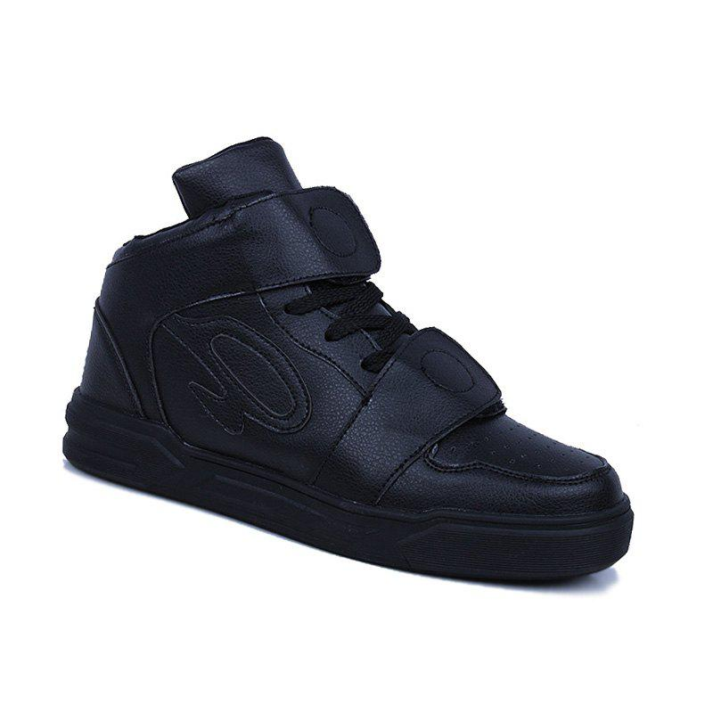 High Top Air Sports Cushion Sneakers Mesh Trainers Hip Hop Lace-Up Leisure Shoes - BLACK 43