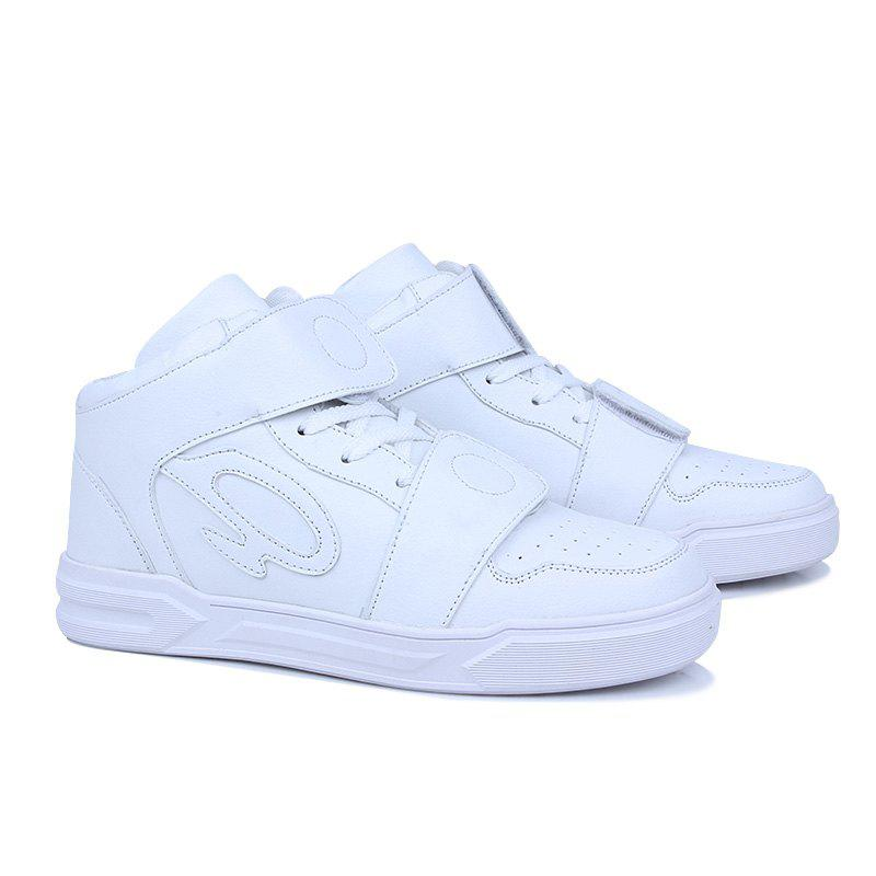 High Top Air Sports Cushion Sneakers Mesh Trainers Hip Hop Lace-Up Leisure Shoes - WHITE 40