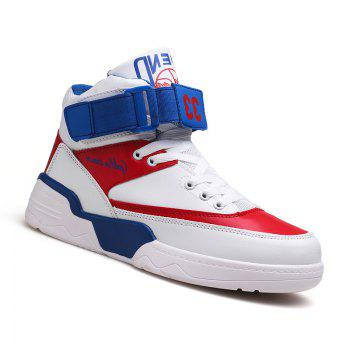 High Top Air Sports Cushion Sneakers Mesh Trainers Basketball Running Boots 39-44 - WHITE + BLUE WHITE / BLUE