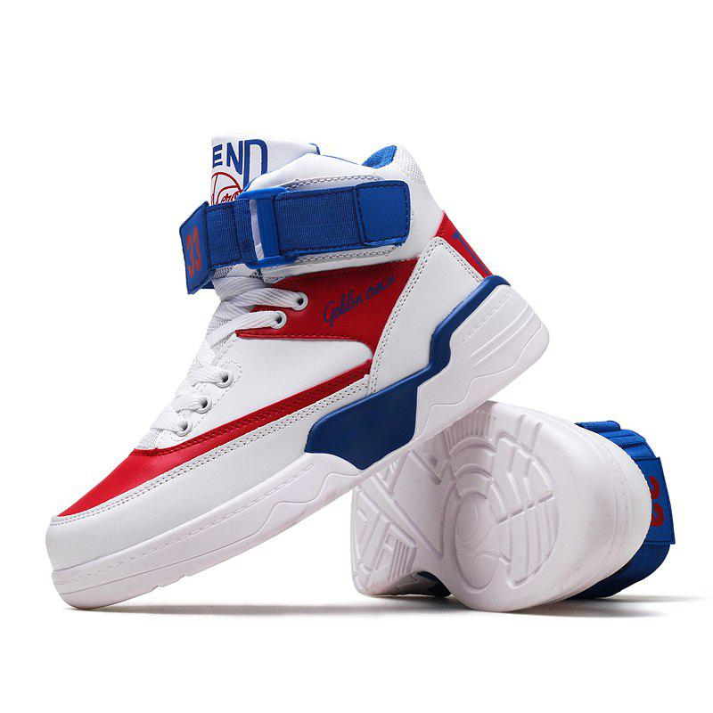 High Top Air Sports Cushion Sneakers Mesh Trainers Basketball Running Boots 39-44 - WHITE / BLUE 39