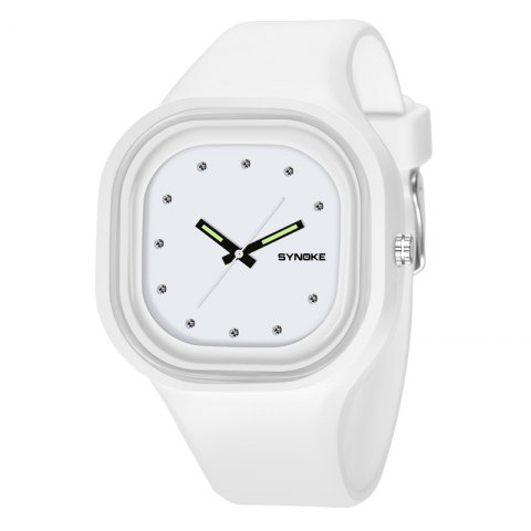 SYNOKE 4730 Fashion Leisure Sports Neutral Watch Crystal Embedded with Box - SNOW WHITE