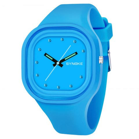 SYNOKE 4730 Fashion Leisure Sports Neutral Watch Crystal Embedded with Box - BLUE