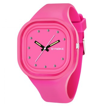 SYNOKE 4730 Fashion Leisure Sports Neutral Watch Crystal Embedded with Box - PINK PINK