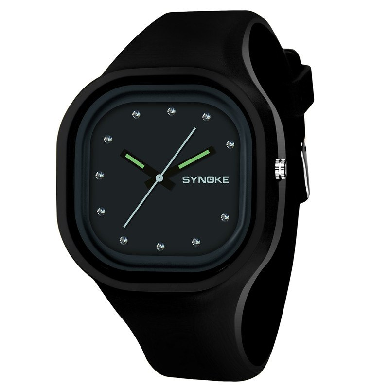 SYNOKE 4730 Fashion Leisure Sports Neutral Watch Crystal Embedded with Box - BLACK
