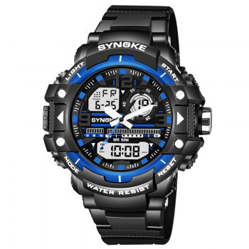 SYNOKE 4735 Outdoor Sports Trendy Waterproof Multifunctional Men Electronic Watch with Box - BLACK AND BLUE BLACK/BLUE