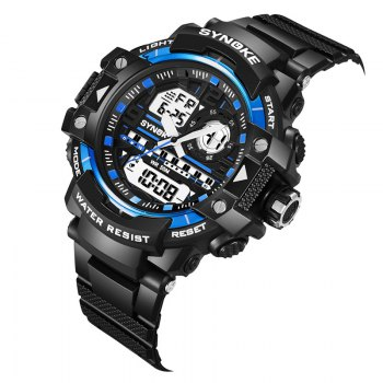 SYNOKE 4735 Outdoor Sports Trendy Waterproof Multifunctional Men Electronic Watch with Box - BLACK/BLUE