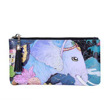 3 - C050 Fashion Trend White Elephant Pattern Painted Leather Wallet -  COLORFUL