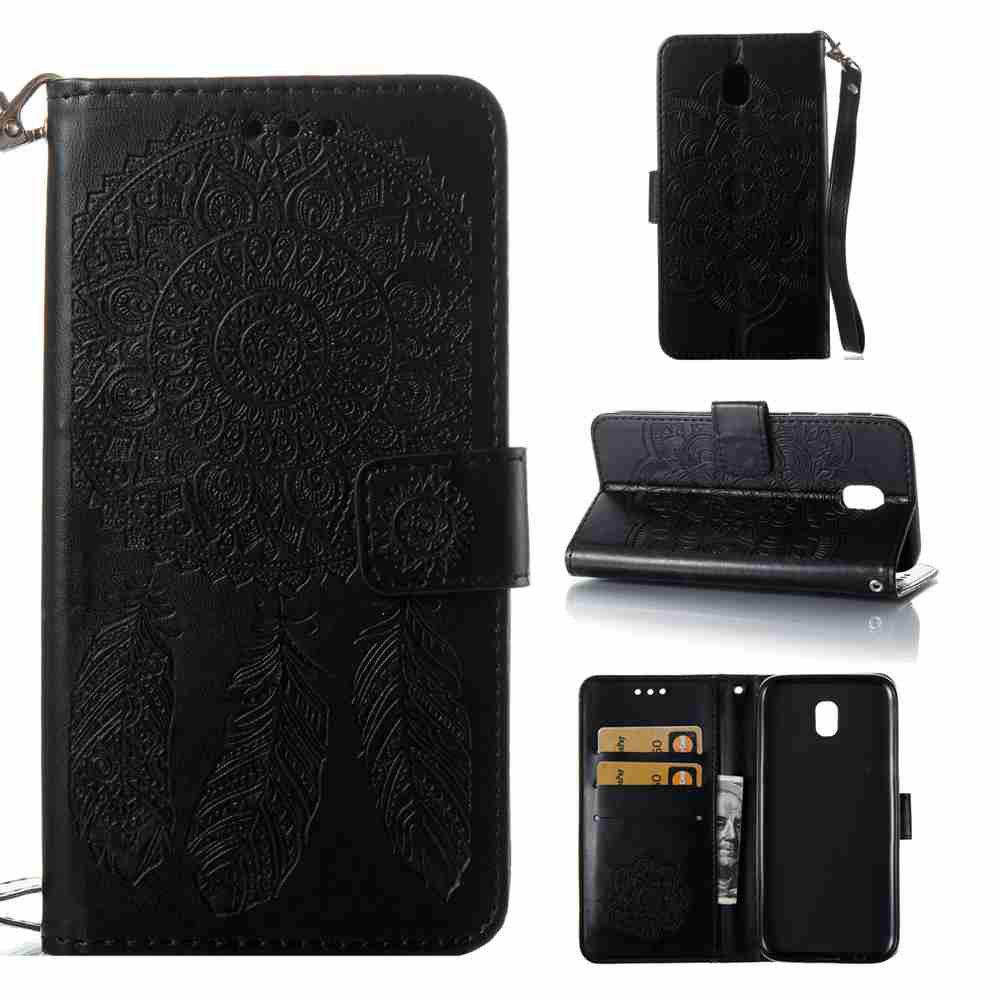 Embossing - Campanula PU Phone Case for Samsung Galaxy J530 - BLACK