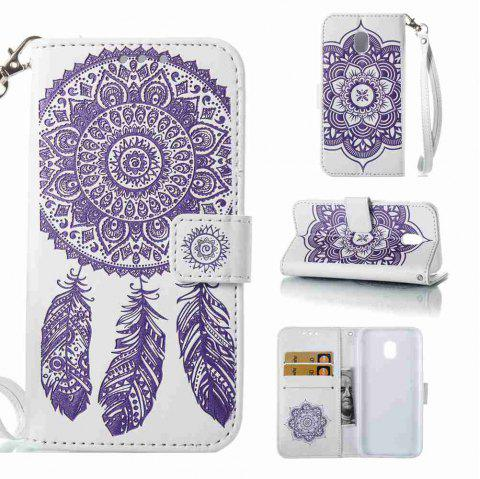 Embossing - Campanula PU Phone Case for Samsung Galaxy J330 - WHITE / PURPLE